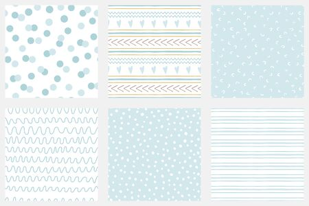 Baby boy shower blue collection Hand drawn seamless pattern set Blue simple textures background fabric cloth Stripes polka dot circle shape irregular graphic childish design Cute vector illustration.