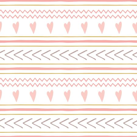 Set of cute abstract hand drawn pink seamless patterns Horizontal stripes pink hearts vector background Childish irregular geometric lines Baby girl illustration Pastek stroke Lovely pastel layouts.