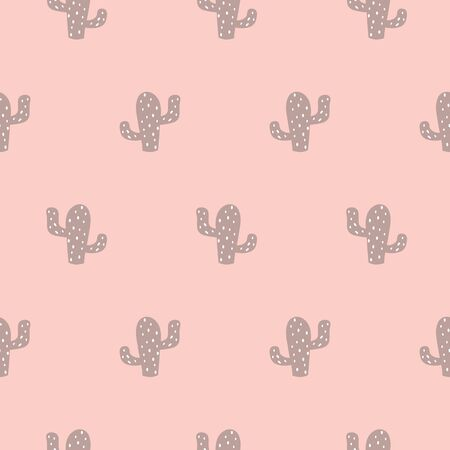 Hand drawn seamless repeat pattern with succulent plants in pink beige and pastel pink colors Modern girl background Mexican ornament Cute hand drawn design Vector illustration. Stock fotó