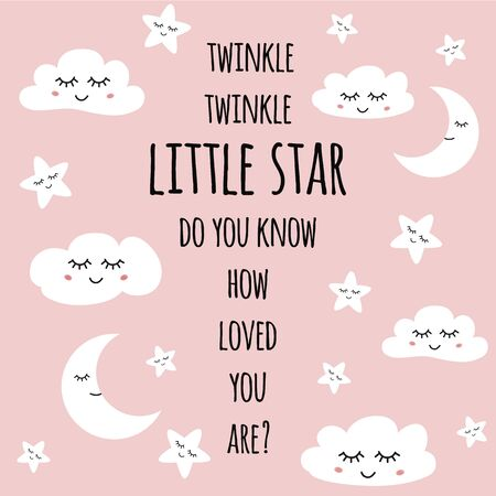Twinkle twinkle little star Pink greeting card for baby shower, nursery poster kids baby t-shirt wear Decorative dreaming stars moon clouds Cute children phrase text quote Vector illustration.
