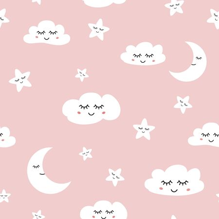 Cloud seamless pattern Sleeping clouds moon stars on light blue background Baby girl ornate Cute hand drawn sky banner with smile elements for children design Decprative paper Vector illustration. Stock fotó