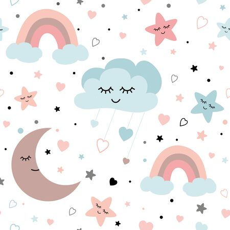 Cute sky pattern Seamless vector design with smiling sleeping moon hearts stars rainbow clouds Baby illustration. Light pastel colors Nursery background Textile fabric cloth for girls and boys. Stock fotó