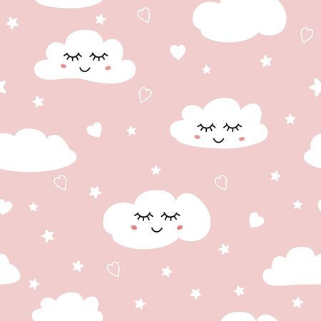 Sweet pink seamless patterns White sleeping clouds stars hearts on pink background Vector illustration Hand drawn repeated wrap wallpaper cover fabric cloth textile design Swatch girl baby shower. Stock fotó