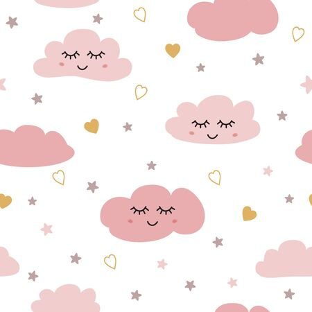 Clouds pattern. Seamless pattern with smiling sleeping clouds stars hearts for baby girl design. Cute baby shower pink background. Childish style wallpaper textile fabric cloth. Vector illustration.
