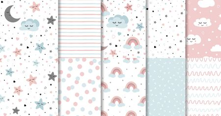 Set of sweet pink seamless patterns Sleepy moon smiling clouds stars rainbow blue pink background collection Vector illustration Hand drawn Polka dot design Stripes lines Childish style print Swatch.