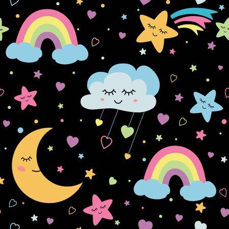 Clouds stars pattern on black night backgrond. Sweet dreams rainbow seamless pattern. Baby cloud pattern Sleeping moon Night wallpaper Printable kids design for fabric, cloth. Vector illustration. Stock fotó
