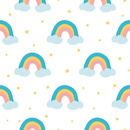 Cute rainbow seamless pattern make from hand drawn rainbow clouds stars Kids baby fabric textile design Childish style background on white wallpaper textile fabric cloth illustration. Stock fotó