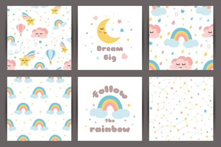 Cute kids backgroungs set in cartoon style Hand drawn patterns with dream moon smiling cloud rainbow stars Happy Birthday children design. Textile fabric cloth template Hand drawn illustration.