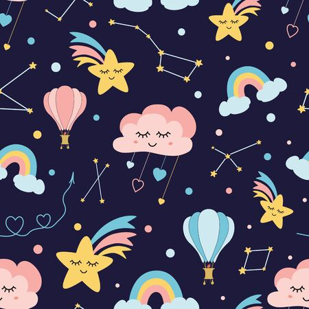 Lovely childish background made of cartoon signs: hearts, stars, clouds cute rainbow air balloon constellation dark sky. Sweet dream vector. Awesome seamless pattern for fabric textile cloth design.
