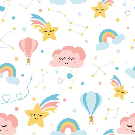 Lovely childish background made of cartoon signs: hearts, stars, clouds cute rainbow air ball constellation in the sky. Sweet dream Awesome seamless pattern for fabric textile cloth design. Stock fotó