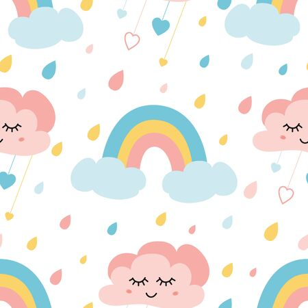 Cute rainbow clouds seamless childish pattern with colored rainy drops Smiling clouds Creative kids texture for fabric cloth design, wrapping paper, textile, apparel. illustration.