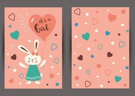 Its a girl Set of pink card templates for invitations. Baby girl Rabbit with heart balloon. Cute starry pink background. Invite banner for party baby shower children birthday. illustration.