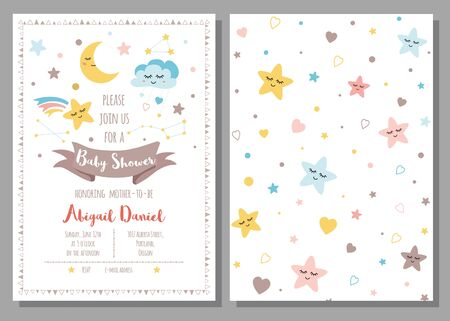 Baby shower invitation template for baby girls boys Cute sky stars cloud moon rainbow with eyes Set of 2 cards Starry design elements Baby arrival Children and drawn background illustration.
