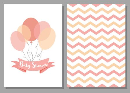 Baby shower invitation for girls Pink balloons ribbon with text Set of 2 cards Pink balloons design elements for baby arrival party Cute zig zag hand drawn background illustration Pink templates.