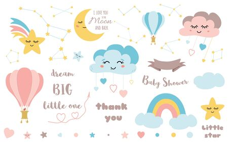 Baby shower elements Cute design element for nursery Moon cloud star rainbow hot air ball ribbon Big Bear constellation Baby icon set Colorful illustrations to design card banner invitation.