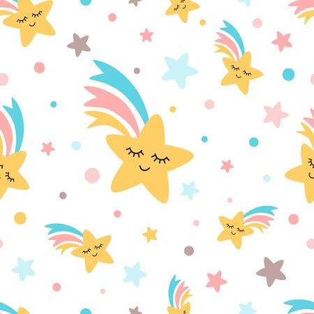 Rainbow star shooting seamless pattern Emoji emotions Rainbow Fun cute kids elements for textile or fabric design White background Yellow pink blue colors Repeat pattern illustration. Stock fotó