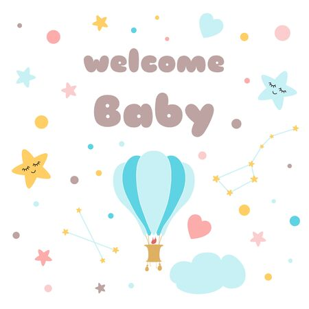 Kids poster Text Welcome baby Cute hand drawn hot air balloon Design for baby shower banners, posters for baby room, greeting cards, kids and baby t-shirts and wear Illustration. Stock fotó - 135466634