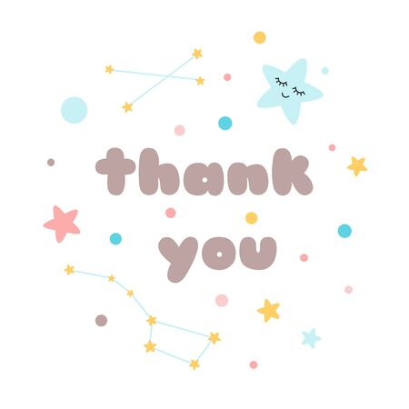Kids poster Text Thank you Cutestarry sky with with big bear constellation, posters for baby room, greeting cards, kids and baby t-shirts and wear Illustration.