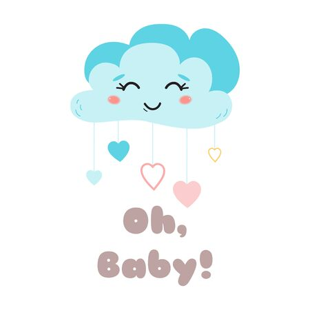 Kids poster Text Oh baby Cute blue cloud with eyes Happy Baby arrival card Cute element for baby party design Childish cartoon style print Template with lettering in bright colors Vector Illustration. Stock fotó - 135466641