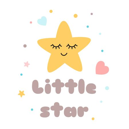 Kids poster Text Little star Cute yellow star with eyes Happy Sleeping Baby shower element decorated polka dot hearts Childish cartoon style print Happy Star character Baby tag Illustration. Stock fotó