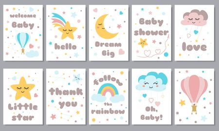 Baby shower posters set with smiling stars dreaming moon cute rainbow hot air ball Invitation with kids phrases Baby arrival and shower collection with lettering illustration. Stock fotó - 135466674