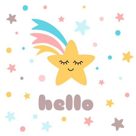 Hello text Cute yellow star with eyes rainbow decorated polka dot ornament with stars Childish cartoon style print Happy Star character Baby label logo banner Illustration. Stock fotó