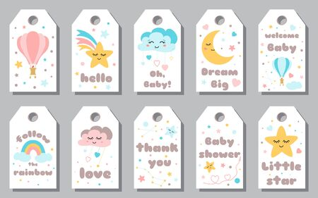 Baby shower tags card set Baby Arrival gift collection Star smiling cloud dreaming moon rainbow elements for baby banner Cute sticker set Text love thank you hello Calligraphy lettering design Stock fotó - 135466649