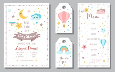 Baby shower tags card set Baby Arrival gift collection Star smiling cloud dreaming moon rainbow elements for baby banner Cute sticker set Text love thank you hello Calligraphy lettering design Vector. Stock fotó
