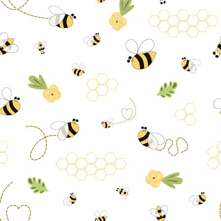 Bee honey pattern Bee floral yellow template Bee seamless pattern Cute honey background vector Stock fotó - 135466652