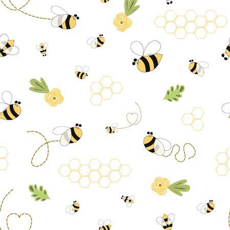 Modèle de miel d'abeille Modèle jaune floral d'abeille Modèle sans couture d'abeille Vecteur de fond de miel mignon