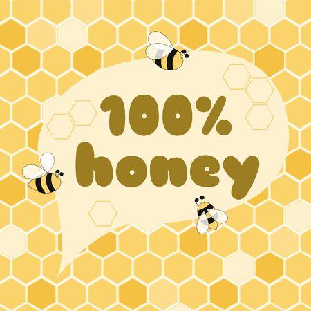 Honey label badge Organic food design element Local honey 100% pure. Bee on yellow honeycomb background