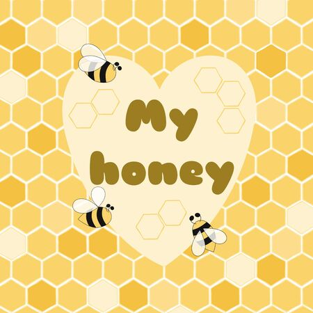 My honey banner Cute poster for Bee party birthday kids St Valentines day date Yellow Bee love Illusztráció