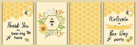 Bee party template set Bee baby shower invitations Cute kids party event Sweet honey bee flowers vector elements Illustration