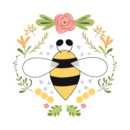 Bee label design. Concept for organic honey products, package design Flower herbs badge Vector