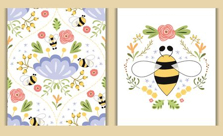 Nature card set. Bee honey flowers print for cosmectic shop design Beautiful summer illustration Floral collection. Cute hand drawn flower. Natural botanical background. Damask floral print in vector.