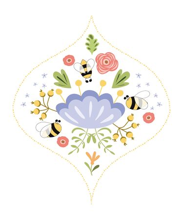 Damask flower label design bee Concept for organic natural products, package design Flower herbs badge Vector
