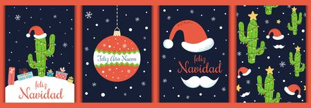 Spanish christmas cards set Text Feliz Navidad Ano Nuevo Christmas cactus santa hat Vector elements Stock fotó - 135466661