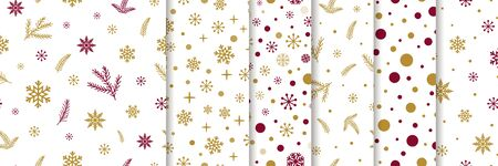 Classic red gold snowflakes branch seamless set patterns Seamless background Christmas pattern collection vector Stock fotó - 135466676
