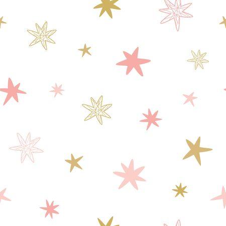 Pink seamless pattern Nursery stars Scandinavian doodle style. baby background textile baby design