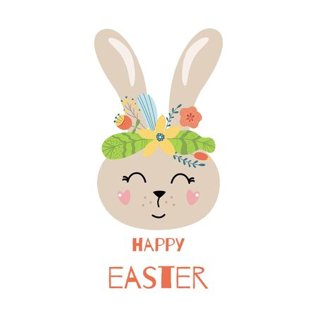 Happy Easter rabbit Cute carton character Rabbit bunny with flower crown in hand drawn doodle style. Colorful easter card print element. Kids illustration. Happy easter text. Isolated poster.