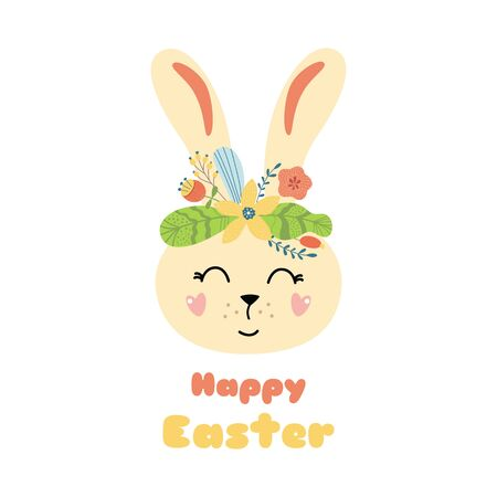 Happy Easter rabbit Cute carton character Rabbit bunny with flower crown Easter card print element vector