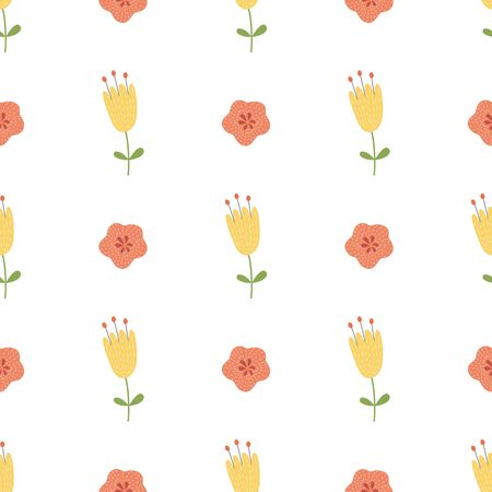 Hand drawn yellow flowers seamless pattern. Cute spring summer wallpaper Floral background