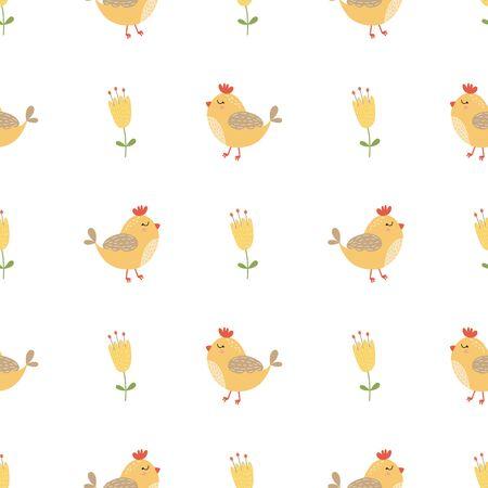Cute bird seamless pattern Yellow summer flowers. Hand drawn background Baby kids design. Illusztráció