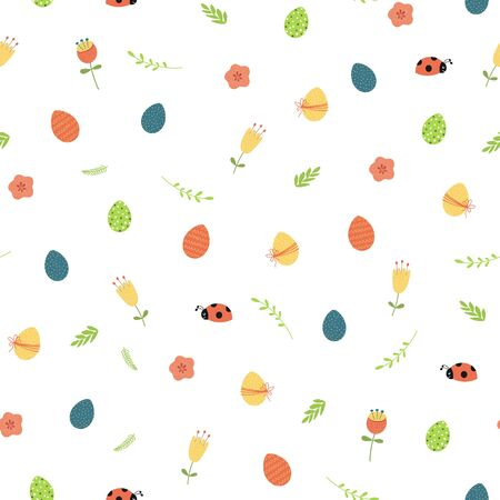 Easter eggs seamless pattern Easter repeat colorful background. Hand drawn Easter eggs flowers print