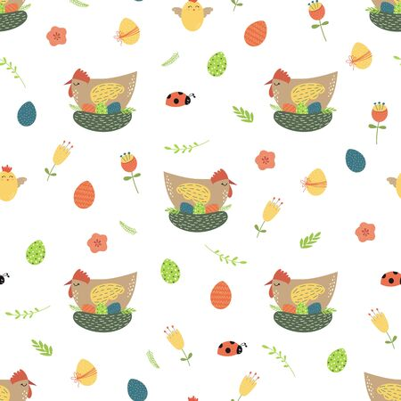 Easter chicken seamless pattern Cute chicken eggs flowers background Spring Easter graphic design Illusztráció