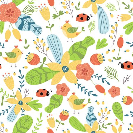 Hand drawn flower pattern. Summer floral seamless background Graphic prints pattern Bright texture Stock fotó - 136449345