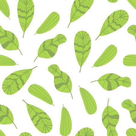 Foliage seamless pattern Green hand drawn leaf repeat background Natural Leaves ecological print