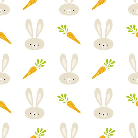 Easter rabbit seamless pattern. Cute bunny rabbit carrot in hand drawn style Spring background vector illustration