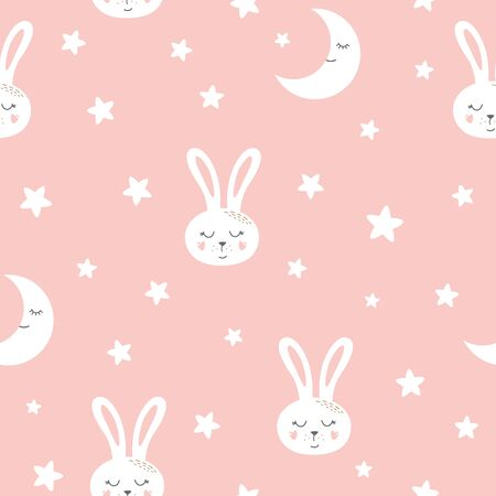Cute bunny seamless pattern Sweet dreams Kids rabbit print Pink seamless background Vector texture