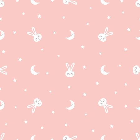 Sweet bunny seamless pattern Sweet dreams Kids rabbit print Pink seamless background Vector texture